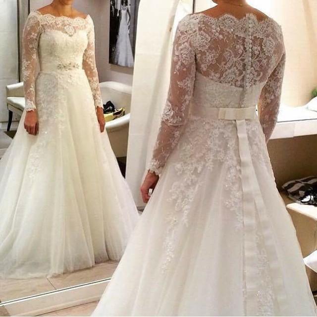 New Style A-Line Off The Shoulder Wedding Dresses Tulle 2015 Sweep ...