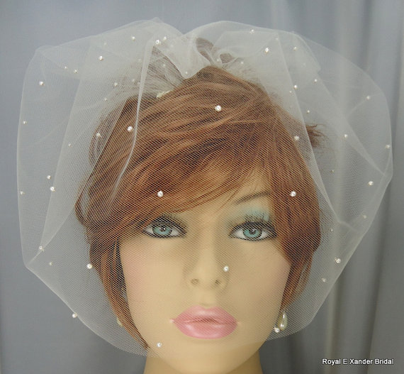 Mariage - Birdcage Veil, Tulle Mini Veil, Bridal Veil, Wedding Veil, 12 Inch Veil, Crystal or Matte Finish