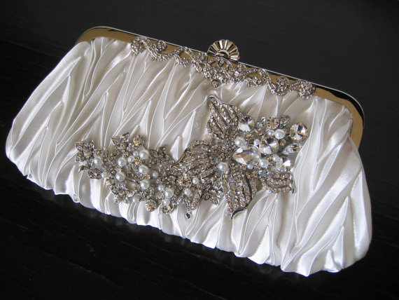 Mariage - White Wedding Clutch with Crystal Pearl brooch,Satin Evening Bag, Wedding handbag ,Bridal Ivory Swarovski Pearls ,Vintage Style Bridal