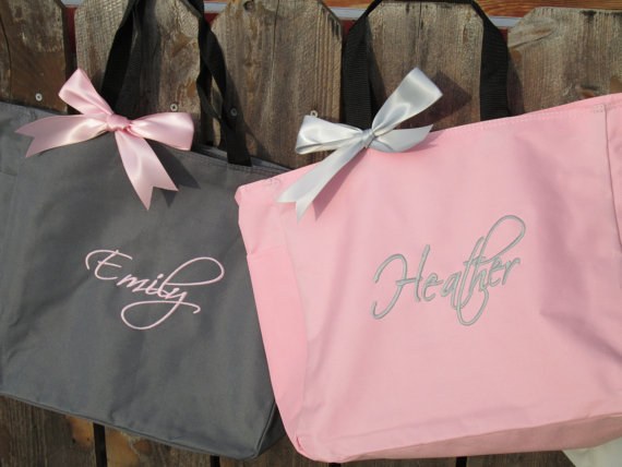 Wedding - 15 Personalized Bridesmaid Gift Totes,  Monogrammed Tote Bags, Team Bride, Dance, Beach, Cheer
