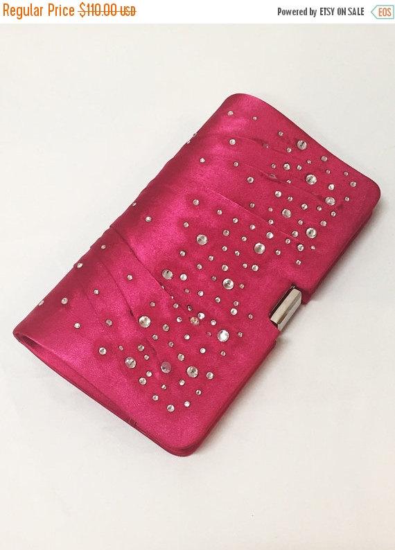 زفاف - Wedding clutch Fuchsia Crystal Detailing, Hot Pink Crystal formal evening bag,  bridesmaid clutch, vintage inspired clutch