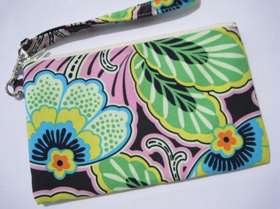 Mariage - WEDDING CLUTCH 2 pockets gift pouch bridal bridesmaid handmade gift for her wristlet -  Floral couture in pitch