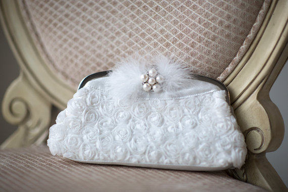 Wedding - Wedding Clutch, Bridal Purse, Bridal Handbag, White Bridal Clutch