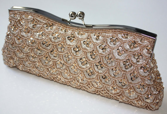 Свадьба - Bridal Clutch - hand beaded champagne satin with beads and sequins -ready to ship