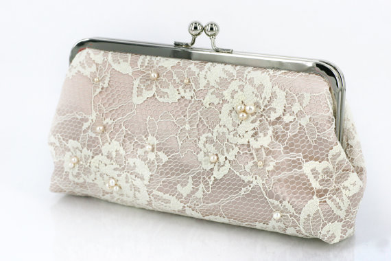 Mariage - Gift for her, personalized gift, Ivory French Lace Clutch in Satin Champagne beaded with Freshwater Pearls and Pearl Strap 8-inch etsygift