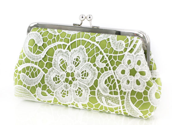 Mariage - Apple Green Lime Lace Clutch for Bridesmaids