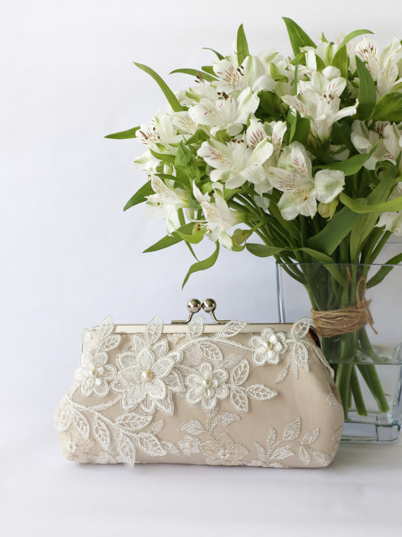 Mariage - Bridal Clutch with Magnolia Flower Vine Lace in Champagne 8-inches