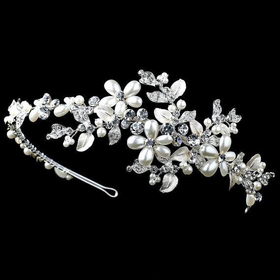 Mariage - Wedding headband, Bridal headpiece, Wedding hair vine, Bridal hair crown, Pearl headpiece, Floral hairpiece, Bridal tiara, Rhinestone band