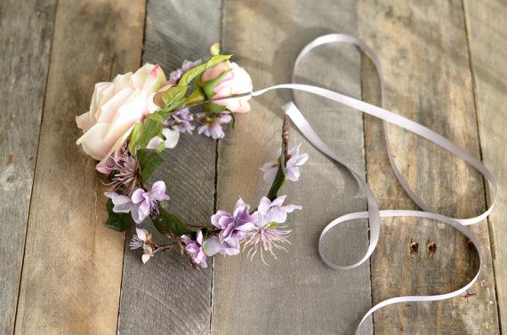 Mariage - Wildflower headband, boho floral crown, blush bridal headpiece, purple flower crown, hair accessories