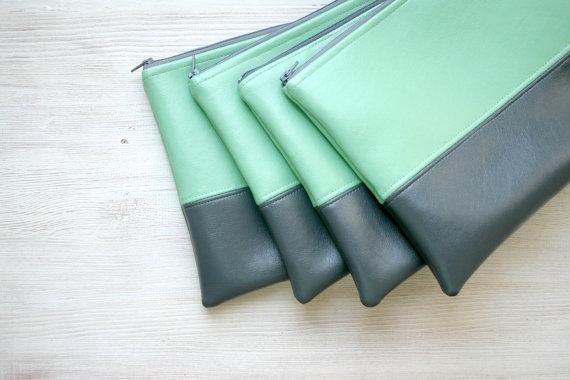 Mariage - Bridesmaids Clutch Purses Green Vegan Faux leather Colorblock Choose a colour CUSTOM MADE