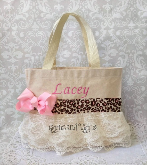 Mariage - Leopard Lace Flower Girl Purse, Flower Girl Gift, Jr. Bridesmaid Gift , Party Favor Bags, Personalied Gift , Big Sister Gift