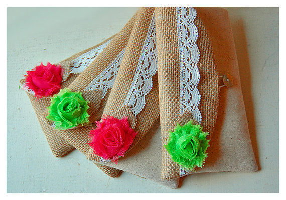 Mariage - burlap lace clutch raw cotton linen purse set 4 rustic wedding rose bag purse Personalize Bridesmaid party  Custom Pouch gift MakeUp