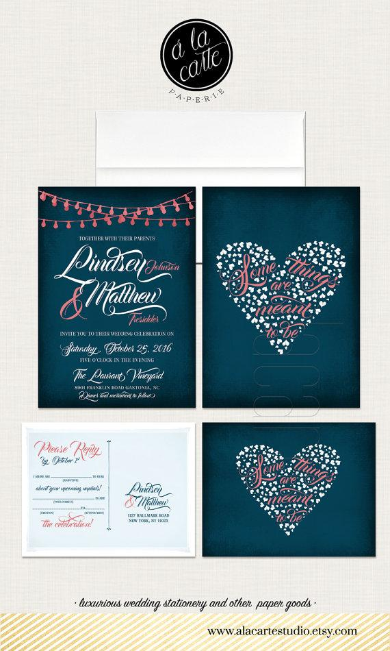 Hochzeit - Some things are meant to be - String Light Navy Blue Chalkboard Wedding Invitation Card and RSVP Design fee