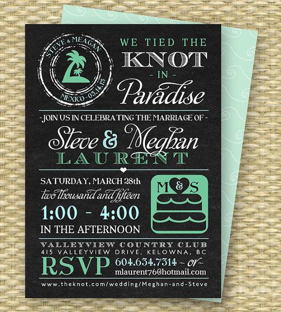 Chalkboard Post Destination Wedding Reception Invitation Tied