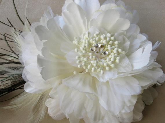 Wedding - Ivory Wedding Flower Hair Clip Fascinator Wedding Accessory Bridal Hair Clip