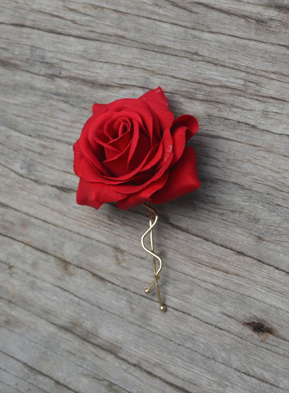 زفاف - Wedding Flower Hair Clip-Real Touch Red Rose Hair Clip, Rose Hair Clips, Bridal Hair Flower, Flower Girl Hair Pin