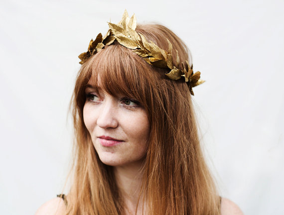 Brilliant Gold Leaf Headband Gold Leaf Crown Toga Headpiece Greek Gold Hairstyle Inspiration Daily Dogsangcom