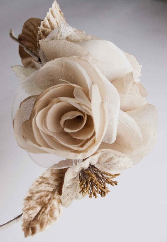 Mariage - Wedding headpiece, Beige Bridal Fascinator, Bridal headband, Bridal Floral Headband, Wedding Headband, Bridal Hair Accessories