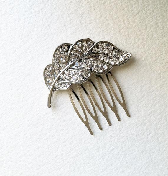 Mariage - Bridal Hair Comb, Feather hair comb, small, Art Deco headpiece, leaf, art deco comb, garden wedding, crystal rhinestone silver