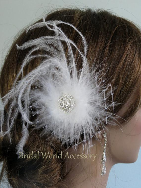 Boda - White Wedding Hair Feather Clip  Wedding Accessory Bridal Hair Clip Wedding Hair Clip Crystals Vail