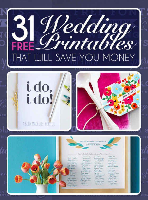 Свадьба - 31 Free Wedding Printables Every Bride-To-Be Should Know About