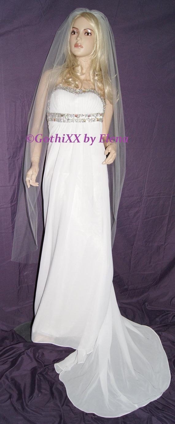 "Mariage - Wedding Veil Waltz Knee length Blush Lavender Black Red Purple Pink Beige Single Tier 54"" Width  58"" Length Raw Cut Edge 23 Colors available"