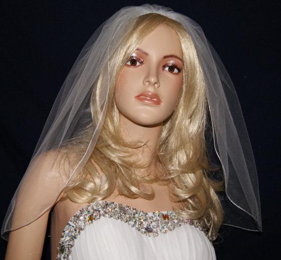 "Mariage - Wedding Veil Elbow  length Pink White Ivory Beige Purple Red Black  Blush Navy Single Tier 54"" Width  25"" 27"" Length Pencil Edge 23 Colors"