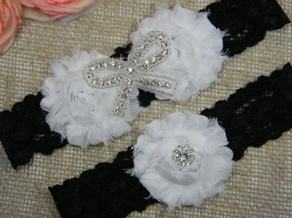 Hochzeit - Black and White Wedding Garter Set - Bridal Garter, Rhinestone Crystal Garter and Toss Garter Set, Chiffon Shabby Flower Black Lace Garters
