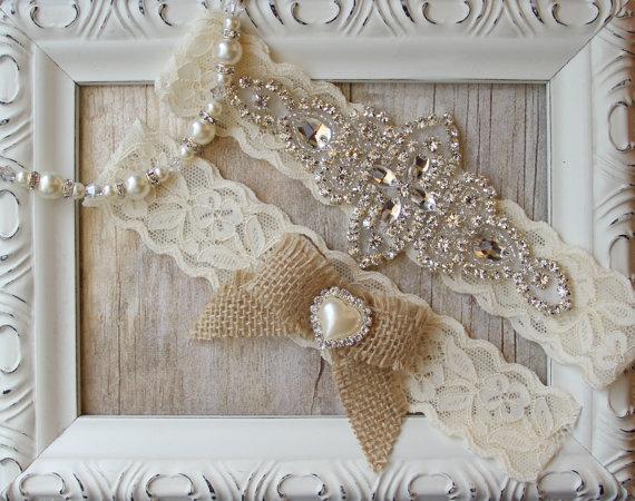 Hochzeit - Rustic Garter Set, Customizable Garter w/Toss - Ivory Wedding Garter Set, Lace Bridal Garter, Rustic Wedding Garter Set, Rustic Wedding