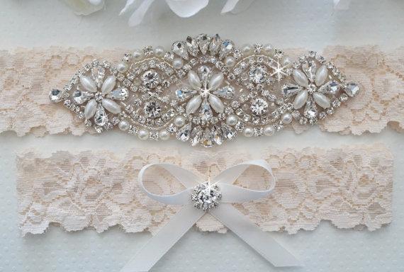 زفاف - Wedding Garter Set, Bridal Garter Set, Vintage Lace Garter - Style L200