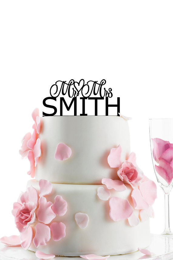 Wedding - Custom Wedding Cake Topper - Personalized Monogram Cake Topper - Mr and Mrs -  Cake Decor -  Bride and Groom - Heart