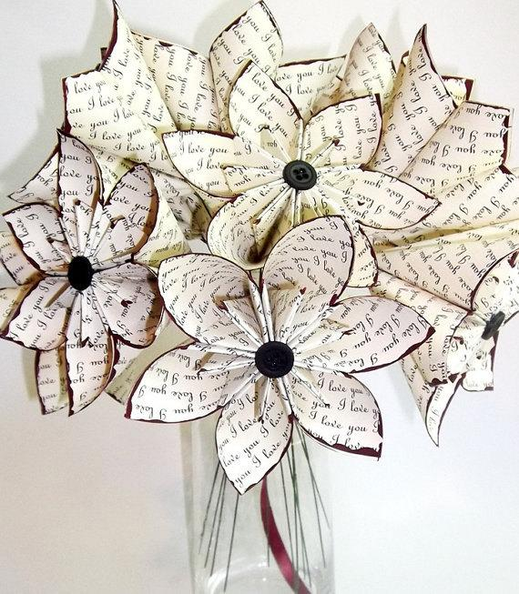 """Mariage - A Dozen """"I Love You's"""" - 12 paper flowers, wedding, 1st anniversary, gifts for her, bouquet, centerpiece, origami, red rose, made to order"""