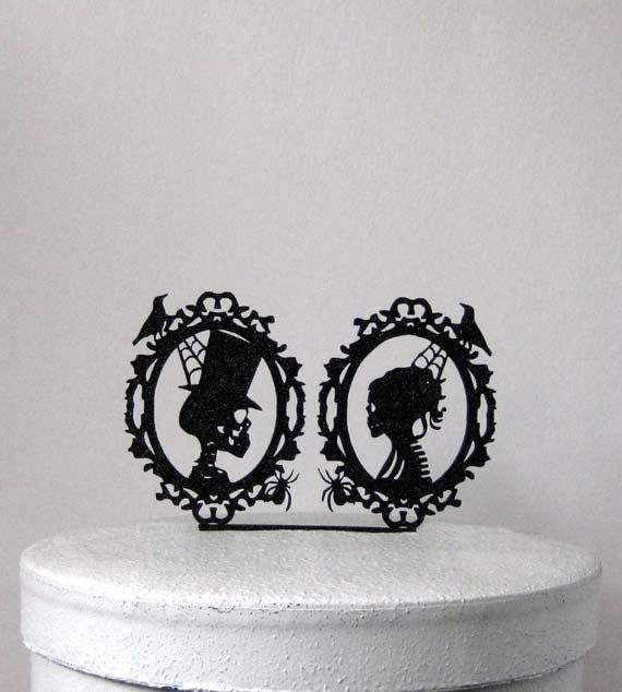 Wedding Cake Topper   Halloween Wedding Cake Topper, Skeleton Cameo Wedding  Cake Topper