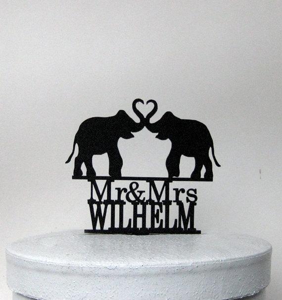 Mariage - Custom Wedding Cake Topper - Elephant Wedding with Mr & Mrs name