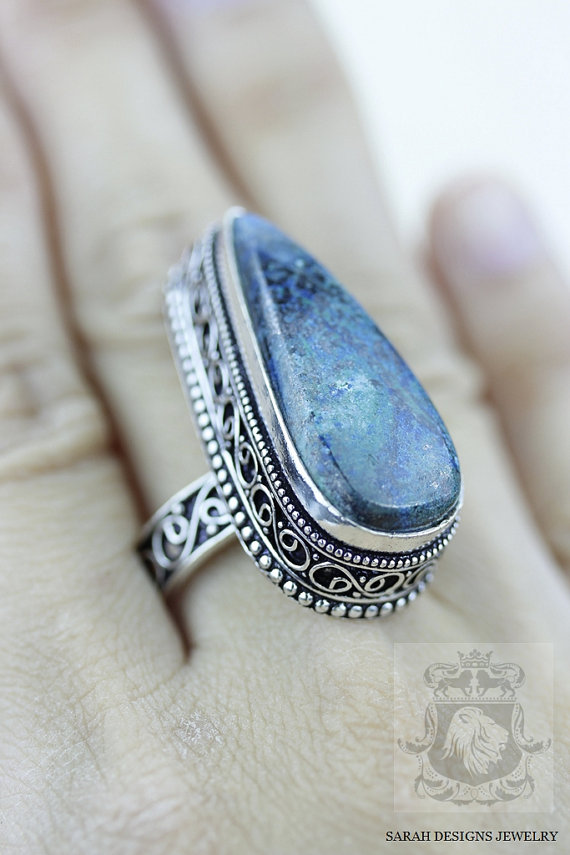 Hochzeit - Size 8.5 - Triangle Shaped CHRYSOCOLLA 925 S0LID (Nickel Free) Sterling Silver Vintage Setting Ring & FREE Worldwide Express Shipping R1792
