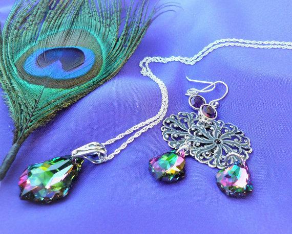 Mariage - Peacock Wedding Jewelry Set, SALE