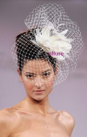 Wedding - BIRDCAGE VEIL. Feather wedding flower. Fether headdress. Bridal veil. So charming fascinator, headpiece. White, ivory, cream, black