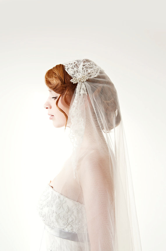 Mariage - Bridal Juliet Cap Wedding Veil with French beaded Chantilly Lace - Touch of Love - Made to Order