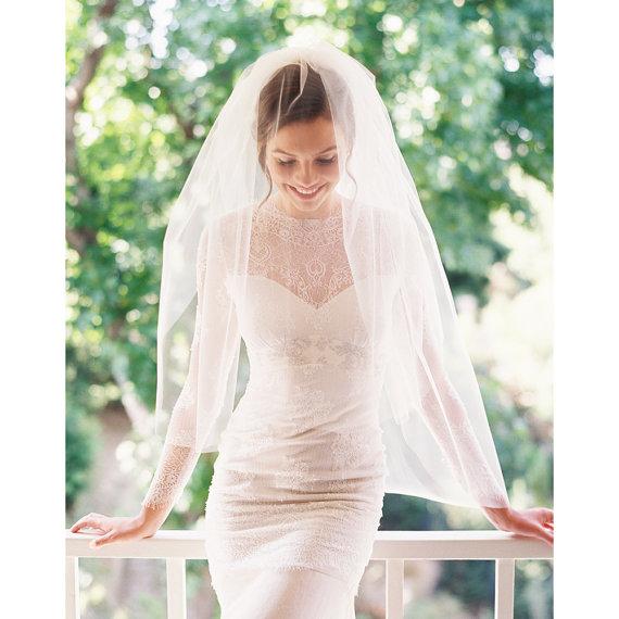 زفاف - Bridal veil, fingertip veil, wedding veil, tulle blusher veil- Style 1943
