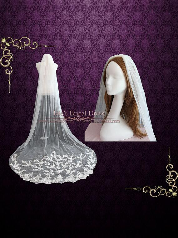 Hochzeit - Cathedral Length Lace Wedding Veil with Floral Lace Appliques at the End VG1004