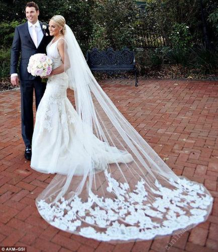 Mariage - Gorgeous Lace Cathedral Veil Ivory or White