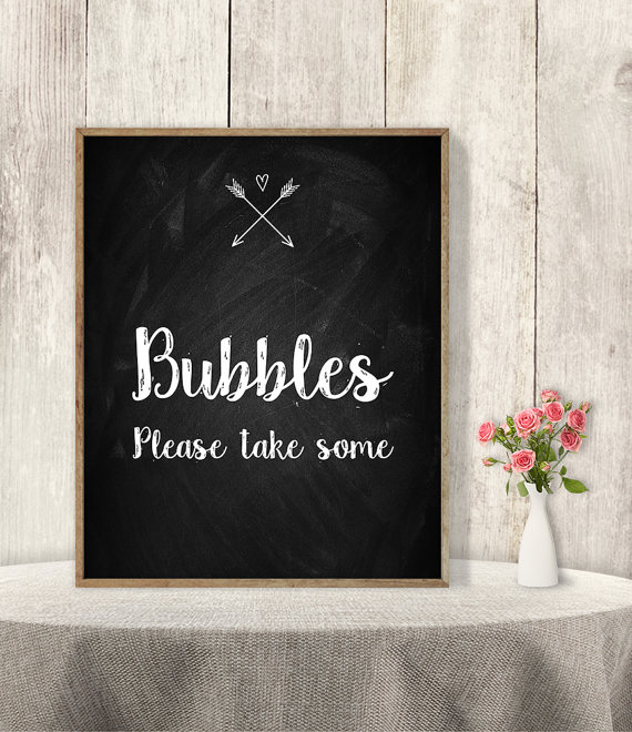 bubbles sign please take one sign rustic wedding sign diy rustic chalkboard poster arrow heart chalk lettering instant download