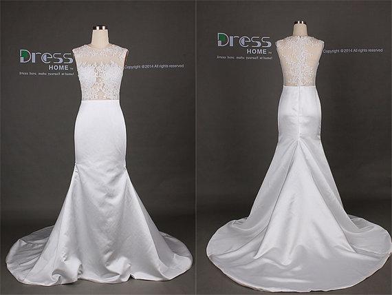 Mariage - Sexy White Round Neck Lace Satin See Through Mermaid Wedding Dress/White Lace Wedding Dress/Mermaid Wedding Dress/Mermaid Prom Dress DH304