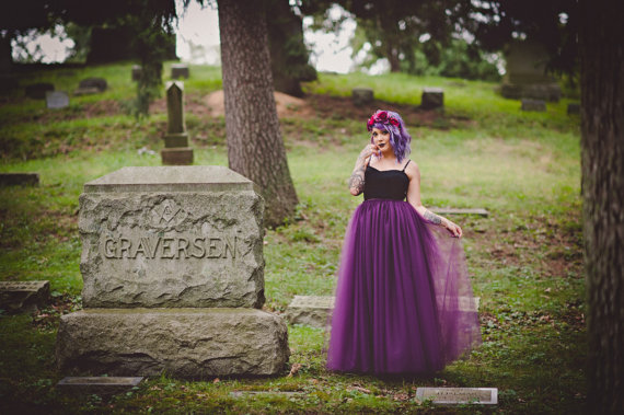 Mariage - Floor length tulle skirt- eggplant, any color