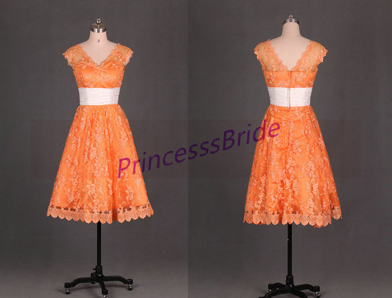 Honor Vs Honour Wedding Invitation: 2015 Tea Length Orange Lace Bridesmaid Gowns,cheap Simple