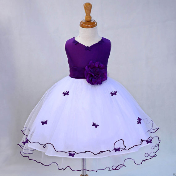 Purple wedding dress size 20 : Girl butterfy tulle dress color tie sash pageant wedding bridal