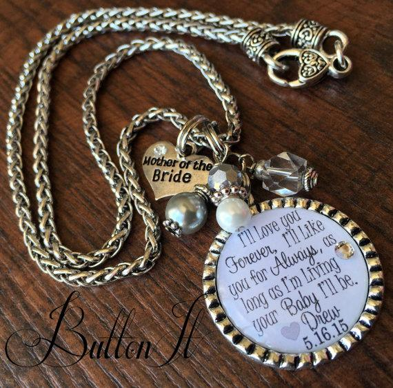 زفاف - Mother of the BRIDE gift, Today a Bride, Forever Your Little Girl, I'll love you forever like you for always, Personalized wedding jewelry,
