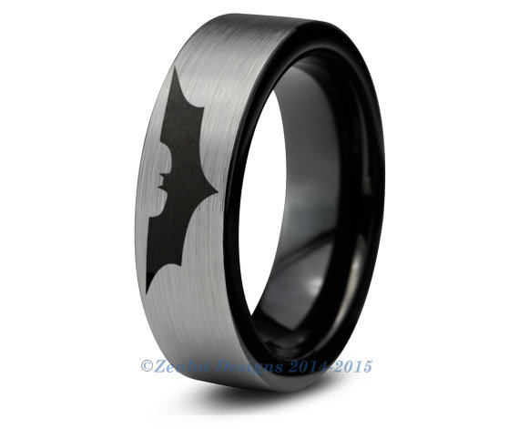 Mariage - Batman Tungsten Wedding Band Ring Mens Womens Brushed Pipe Cut Black Fanatic Comic Geek Anniversary Engagement ALL Custom Sizes Available