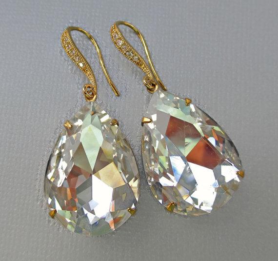 Свадьба - Extra Large Crystal Earrings - Bridesmaid Gift - Bridal Earrings - Statement Earrings - SOPRANO Crystal