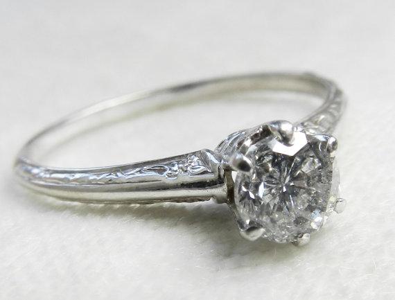 Engagement Ring .63 Ct Diamond Vintage Orange Blossom 14K White Gold Crown  Basket Setting Diamond Ring